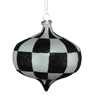 80MM WHITE & BLACK CHECKER ONION ORNAMENT