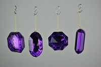 4 PACK PURPLE JEWEL ORNAMENTS