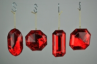 4 PACK RED JEWEL ORNAMENTS
