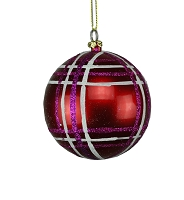 80MM RED, FUCHSIA & WHITE STRIPE BALL ORNAMENT