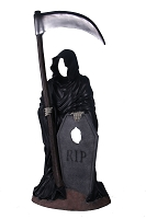 GRIM REAPER WITH TOMBSTONE PHOTO OP