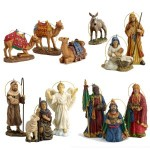 Three Kings 10 pc Nativity Ornament set with wooden chest