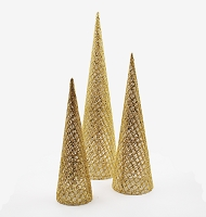 3 PACK GOLD MESH GEM CONE TREE