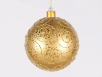 140mm Gold Ball Ornament with Gold Glitter Design