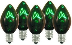 C7 Dimmable Incandescent Transparent Green Bulbs E12 Base