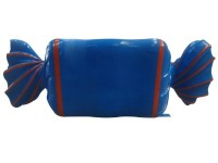 Wrapped Candy Blue with Orange Stripes