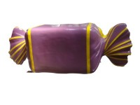 Wrapped Candy Purple with Yellow Stripes