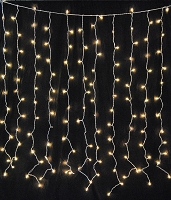 240 Clear Incandescent Light Curtain with 1/4 Clear Twinkle Bulbs