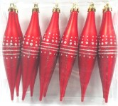 Red and Silver Finial Ornament with Dot design 12PK