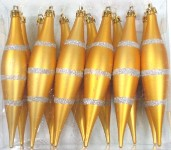 Gold and Silver Finial Ornament with line design 12PK