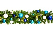 9' Pre-Lit Warm White Blended Pine Garland Decorated with the Arctic Ornament Collection