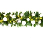 9' Sequoia Garland Decorated with The Iceland Ornament Collection Pre-Lit with Warm White LEDs