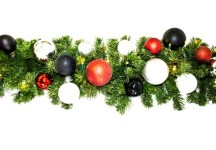 9' Pre-Lit Warm White LED Sequoia Garland Decorated with the Modern Ornament Collection