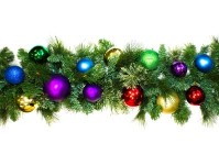 9' Sequoia Garland Decorated with The Royal Ornament Collection Pre-Lit with Warm White LEDs