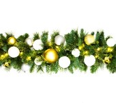 9' Pre-Lit Warm White LED Sequoia Garland Decorated with the Treasure Collection