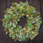 2' Blended Pine Wreath Pre-Lit with Multi Colored LEDS