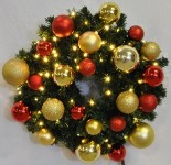 2' Blended Pine Wreath Decorated with The Red and Gold Ornament Collection Pre-Lit Warm White LEDS