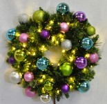 2' Pre-Lit Warm White LED Blended Pine Wreath Decorated with the Victorian Ornament Collection