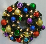 3' Blended Pine Wreath Decorated with the Royal Ornament Collection Pre-Lit Warm White LEDS