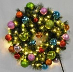 3' Blended Pine Wreath Decorated with the Tropical Ornament Collection Pre-Lit Warm White LEDS