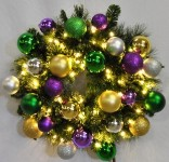 5' Warm White Pre-Lit LED Blended Pine Christmas Wreath Decorated with the Mardi Gras Ornament Collection