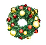 2' Sequoia Wreath Decorated with The Red and Gold Ornament Collection Pre-Lit Warm White LEDS