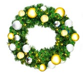 2' Sequoia Wreath Pre-Lit with Warm White LEDs Decorated with The Treasure Ornament Collection