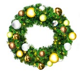 2' Pre-Lit Warm White LED Sequoia Wreath Decorated with the Woodland Ornament Collection