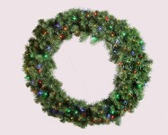 3' Sequoia Wreath Pre-Lit with Multi Colored LEDS