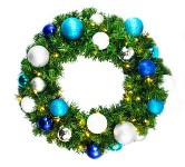 5' Sequoia Wreath Decorated with The Arctic Collection, Pre-Lit with Warm White LEDs