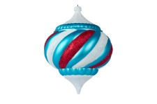 150mm Onion Ornament Arctic Collection Aqua and White