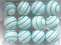 Aqua and White Ball Ornament with Line Design 12 pack