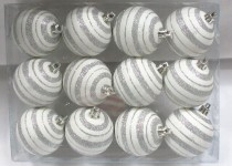 Silver and White Ball Ornament with Line Design 12 pack