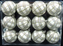 White Ball Ornament with Gold and Silver Plaid Design 12pk