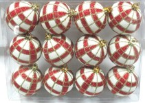 White Ball Ornament with Red and Gold Plaid Design 12pk