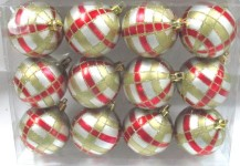 Silver Ball Ornament with Red and Gold Plaid Design 12pk