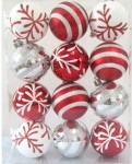 Red and White Ball Ornament with snowflake and line glitter design