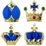 4pk Blue Crown Ornaments