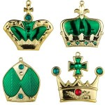 4pk Green Crown Ornaments