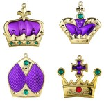 4pk Purple Crown Ornaments