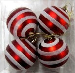 4 Pack Red Ball Ornament with Lines
