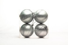 Silver Ball Ornament with Spiral Design 4 pack