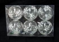 Clear Ball Ornament with Silver Glitter Snowflake 6pk