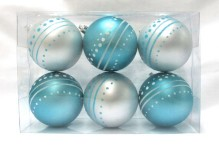 Aqua and White Ball Ornament with Dot Design 6pk