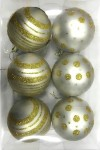 White Ball Ornament with Gold Dot and Line Design 6pk