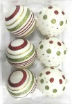White Ball Ornament with Gold, Red and Green Dot and Line Design 6pk
