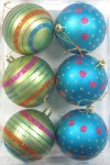 White Ball Ornament with Mardi Gras Dot and Line Design 6pk