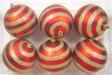 6pk Red Ball Ornament with Lines