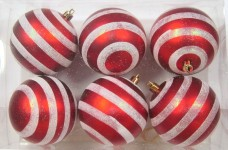 6pk Red and White Ball Ornament with Line Design
