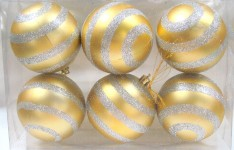 6pk Gold Ball Ornament with Silver Glitter Line Design